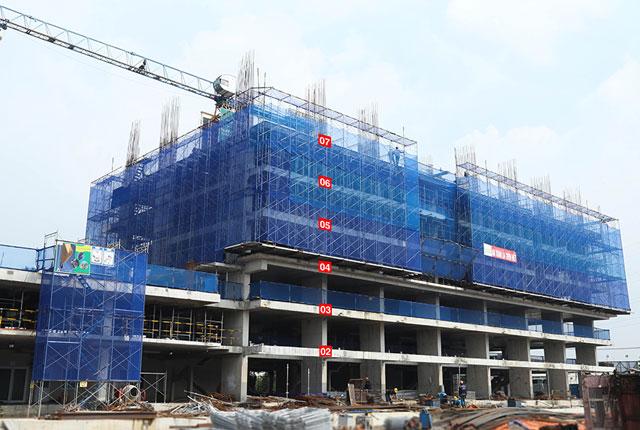 Thi công cột sàn tầng 8 block B