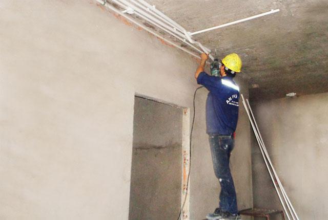 Lắp đặt hệ thống điện từ tầng 6 đến tầng 19 block A, từ tầng 6 đến tầng 20 block B