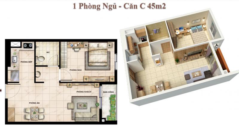 Căn hộ 01 Phòng ngủ Vision Bình Tân