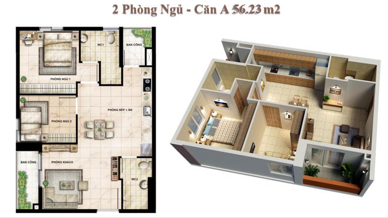 Căn hộ 02 Phòng ngủ Vision Bình Tân