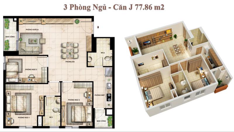 Căn hộ 03 Phòng ngủ Vision Bình Tân