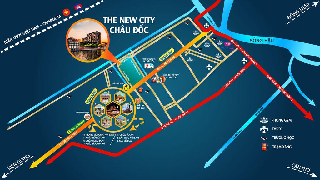 Vị trí dự án đô thị mới The New City Châu Đốc